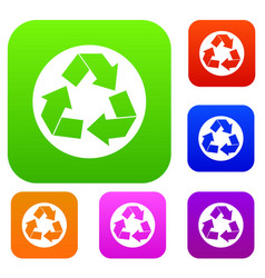 recycle sign set collection vector image