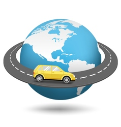 Globe with road around the world and car isolated vector