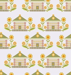 The pattern of houses and flowers stylized vector