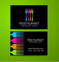 restaurant logo business card template vector image