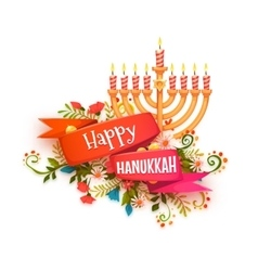 Happy hanukkah banner with ribbon and vector