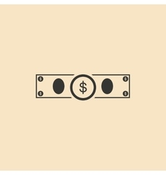 Flat in black and white dollar bill vector