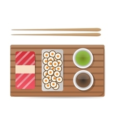 Sushi and rolls set isolated on white vector