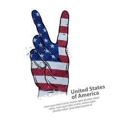 Hand gesture of victory flag usa united states vector