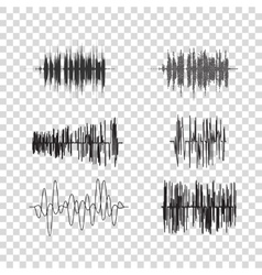 Sound waves set on transparent audio vector
