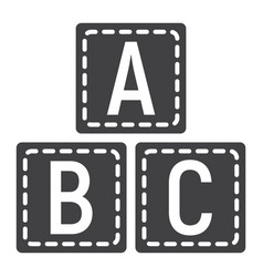 abc blocks solid icon alphabet cubes education vector image vector image