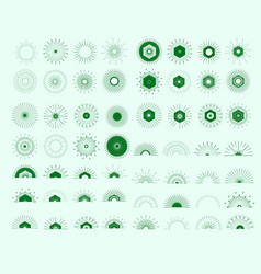 big set of retro sun burst shapes vector image vector image