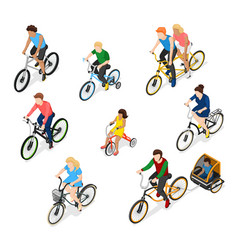Bike riders character set vector
