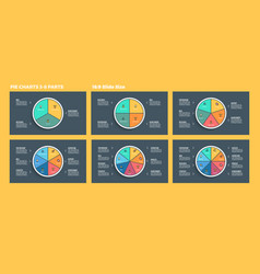 Business infographics pie charts with 3 4 5 6 vector