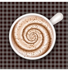 Coffee cup top view gingham background vector