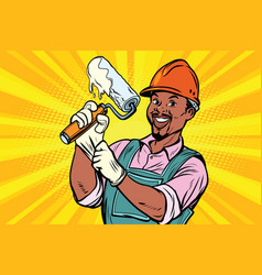 construction worker with roller for paint vector image vector image