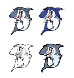 evil shark mascot vector image vector image