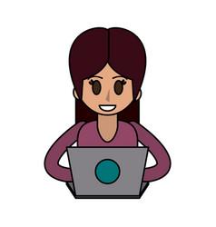 Happy woman using laptop icon image vector