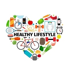 Healthy lifestyle heart emblem vector