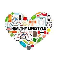 Healthy lifestyle heart emblem vector