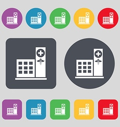 Hospital icon sign a set of 12 colored buttons vector