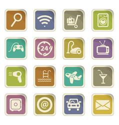 Hotel room service icon set vector