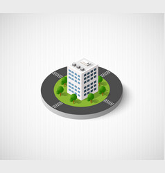 icon of the city with isometric houses vector image vector image