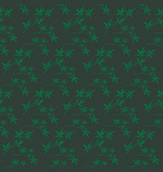 Korean traditional green bamboo leaves pattern vector