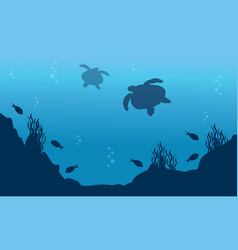 Landscape of fish and turtle silhouettes vector