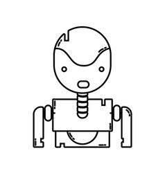 Line tecnology robot face with chest design vector