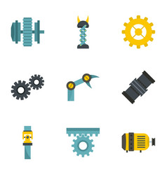mechanism parts icon set flat style vector image