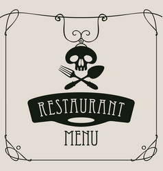 Menu with human skull with a spoon and fork vector