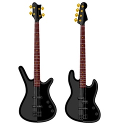 Modern electric bass guitars vector