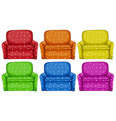 Polkadots sofa in six colors vector