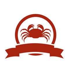 Red circular border with crab and label vector