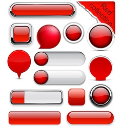 Red high-detailed modern buttons vector