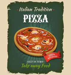retro fast food pizza poster vector image