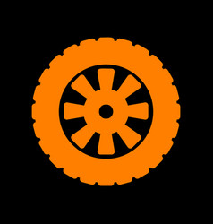 Road tire sign orange icon on black background vector