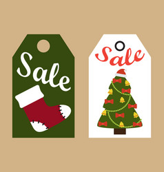 Sale promo tags ready to use labels christmas tree vector
