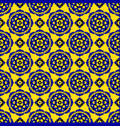 Seamless pattern - blue black yellow bloom tiles vector