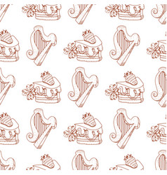 Seamless pattern with a harp and a slice of cake vector