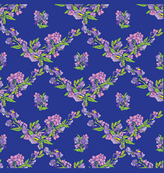 Seamless pattern with flowers on blue backdrop - vector