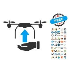 Send Drone Hand Icon With 2017 Year Bonus Symbols vector image vector image