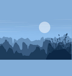 Silhouette of cliff at night landscape vector