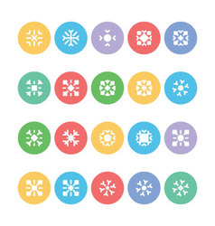 Snowflakes colored icons 5 vector