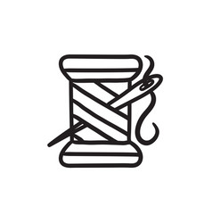 Spool of thread and needle sketch icon vector