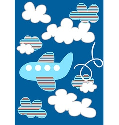 Striped passenger plane flying through the clouds vector