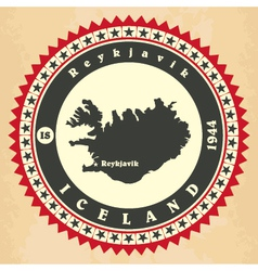 Vintage label-sticker cards of Iceland vector image vector image