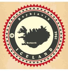 Vintage label-sticker cards of Iceland vector image vector image