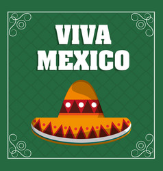 Viva mexico - hat traditional green background vector