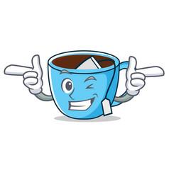 Wink tea cup character cartoon vector