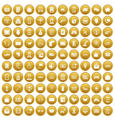 100 telephone icons set gold vector