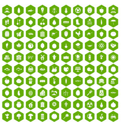 100 vitamins icons hexagon green vector