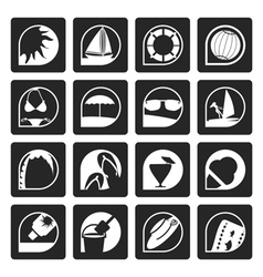 Black simple summer and holiday icons vector
