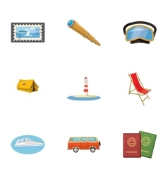 Journey to sea icons set cartoon style vector